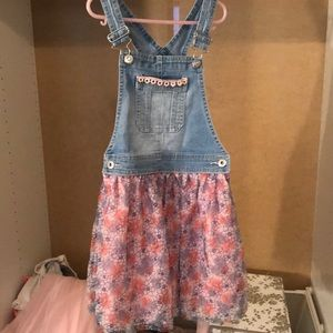 Denim floral girls overalls dress 7-8